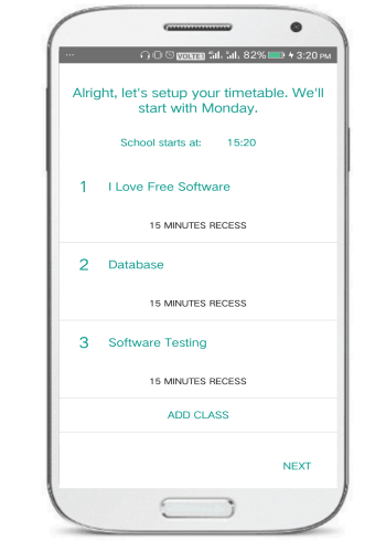scholar android app- add timetable