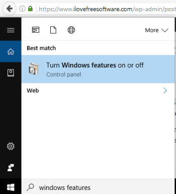 search and click on Turn Windows features on or off