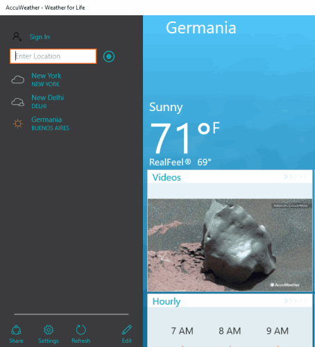 search for a city to view the weather