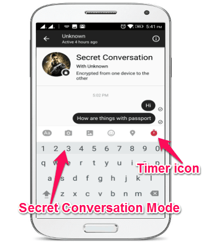 secret conversations screen