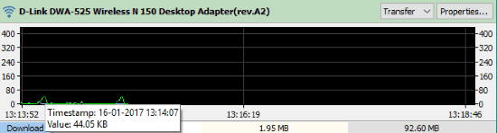 see data usage graph of network adapter