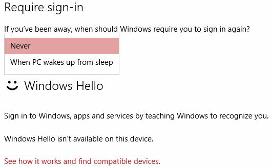 select Never option