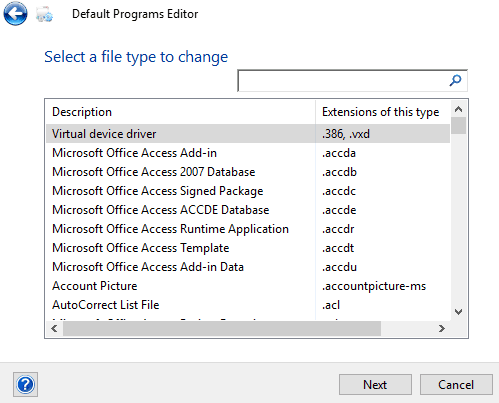 select a file type to change