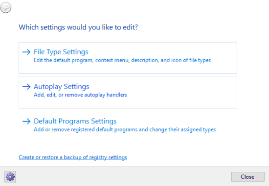 select file type settings option