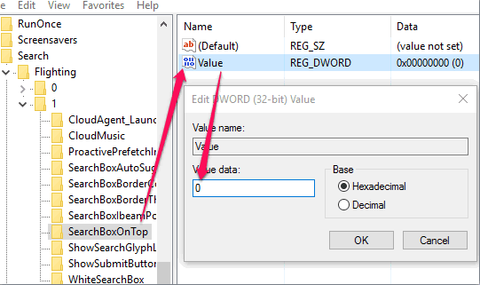 set 0 for value dword value available in SearchBoxOnTop key