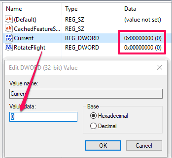 set 0 in value data fields of current and rotateflight dword values