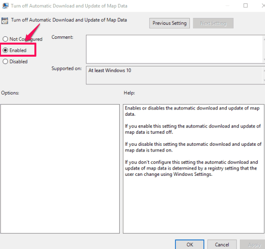 set enabled option and save changes