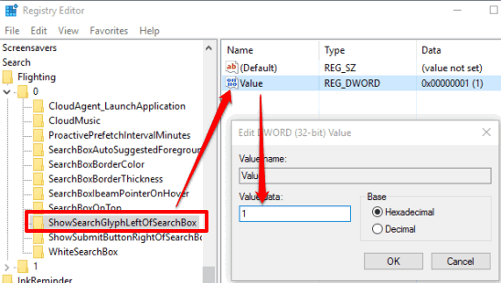 set value data of value dword to 1 available under showsearchglyphleftofsearchbox
