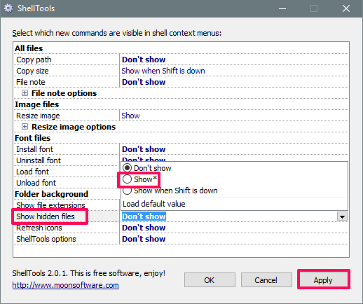 shelltools in action hide show files