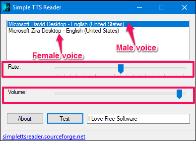 simple tts reader controls
