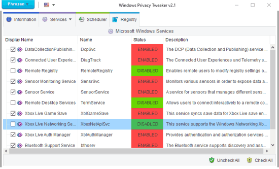 stop services and registry keys from accessing privacy in windows 10