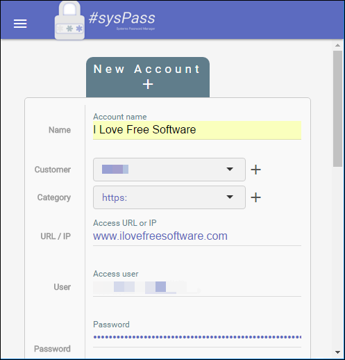 sysPass adding passwords