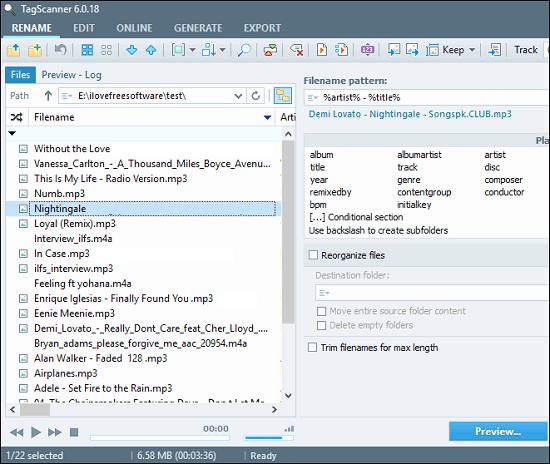 tag scanner file listing