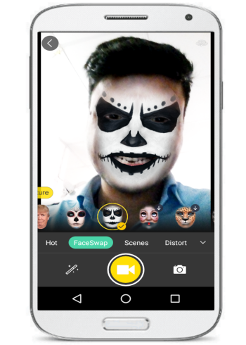 take snapchat like photos and videos- face camera- add filters
