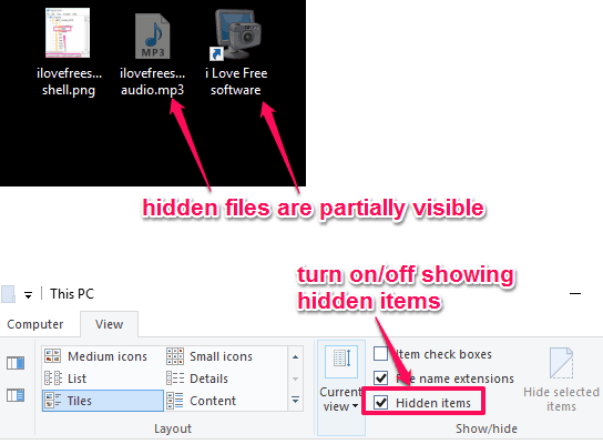turn on or off showing hidden items