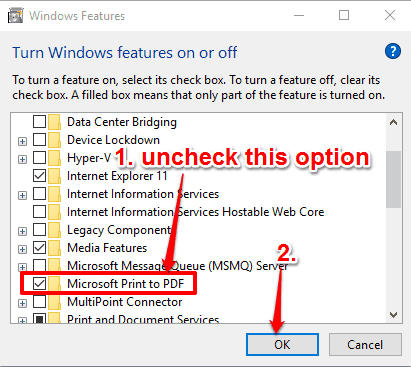 uncheck microsoft print to pdf option and save settings