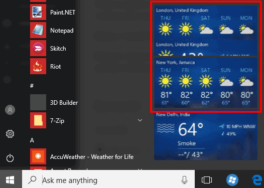 weather forecast visible for multiple cities in windows 10 start menu