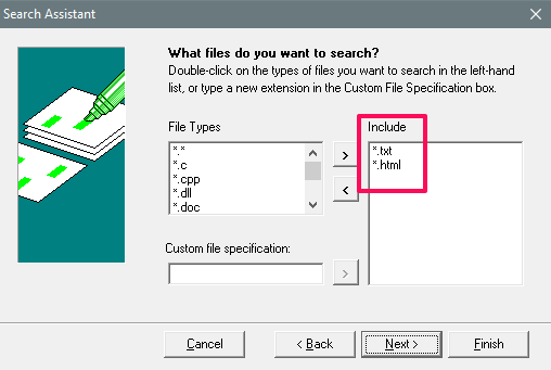 windows grep file types