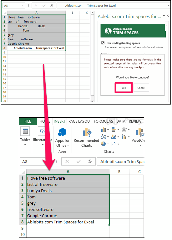 Ablebits.com Trim Spaces for Excel in action