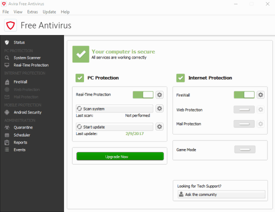 Avira Free Antivirus- interface