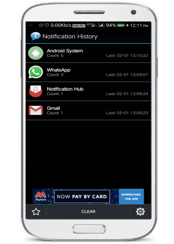 Notification history- 5 free notification hubs for Android