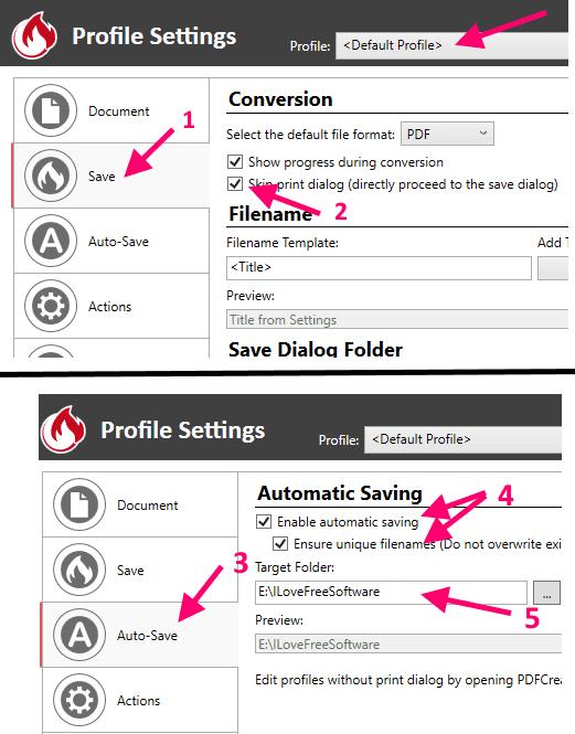 PDFCreator Profile Settings