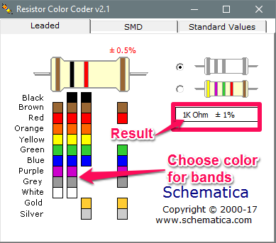 Resistor color coder in action
