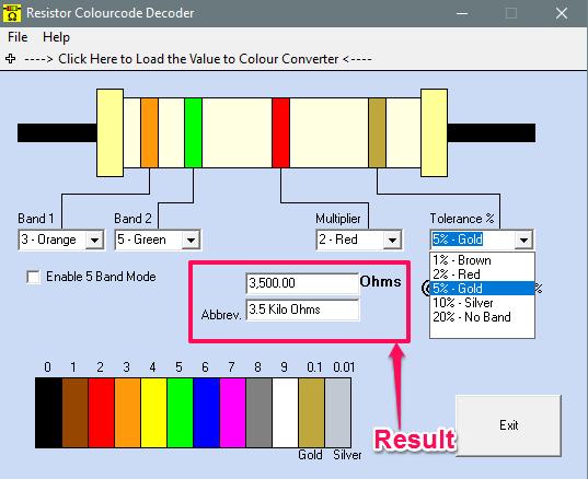 Resistor colourcode decoder in action