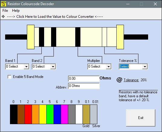 Resistor colourcode decoder
