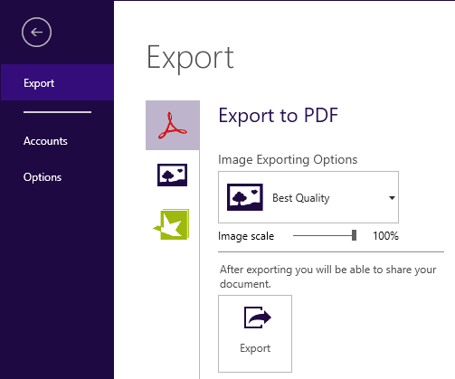 Steps to Reproduce Export as PDF
