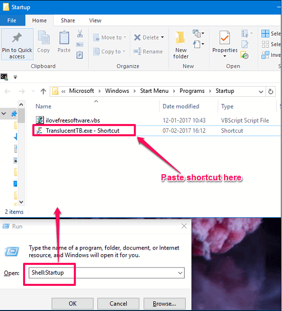 TranslucentTB in settings