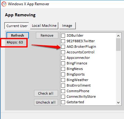 Windows X App Remover- interface