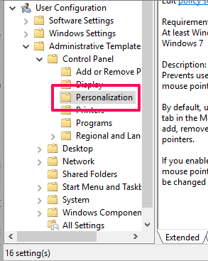 access personalization folder
