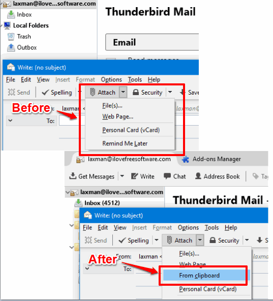 attach a file from clipboard in mozilla thunderbird
