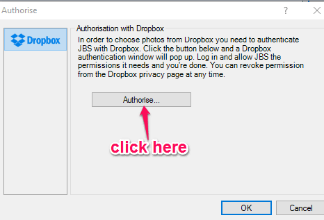 click authorise button