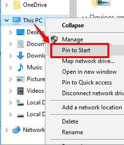 click pin to start option