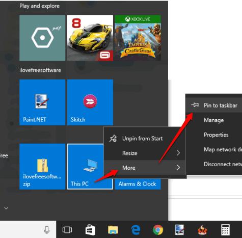 click pin to taskbar option