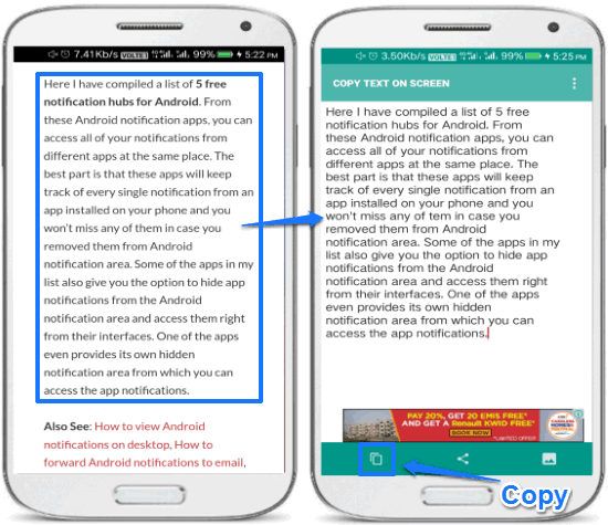 copy text on screen- ocr app