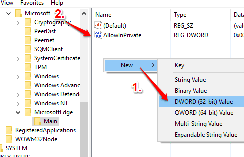 create AllowInPrivate dword value