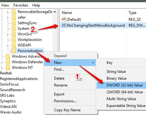 create NoChangingStartMenuBackground dword value