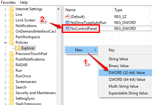 create NoControlPanel dword value