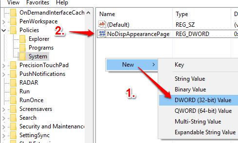 create NoDispAppearancePage dword value