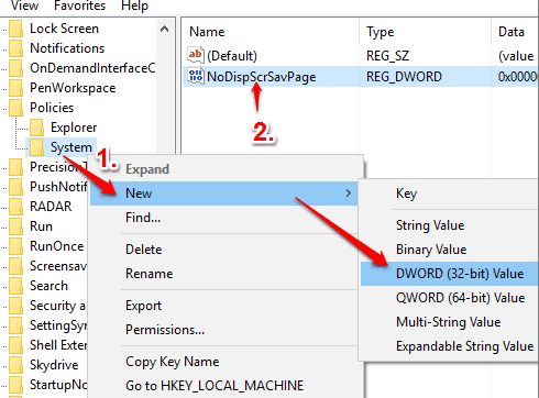 create NoDispScrSavPage dword value