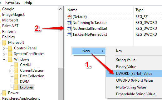 create NoUninstallfromStart dword value
