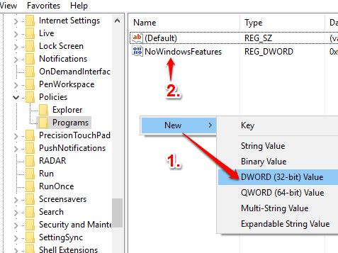 create NoWindowsFeatures dword value