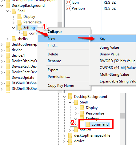 create command key under Settings key