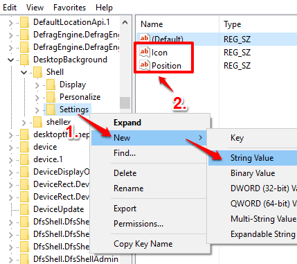 create icon and position named string values