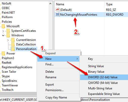 create nochangingmousepointers dword value
