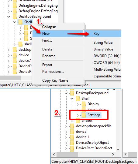 create settings named key