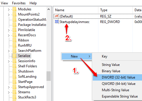 create startupdelayinmsec dword value